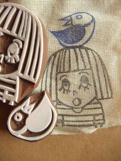 OMG rubber stamp - hand carved rubber stamp - handmade rubber stamp - girl - bird - set of 2. via Etsy.