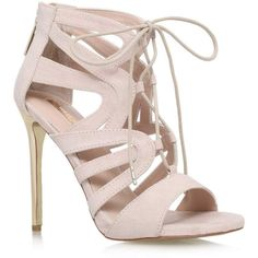 TOPSHOP **High Heel Sandals by Carvela (€165) ❤ liked on Polyvore featuring shoes, sandals, nude, strap sandals, topshop, strappy shoes, lace up sandals и nude sandals