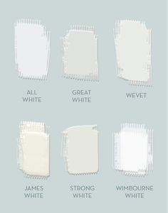 A sampling of shades of white available from Farrow & Ball: All White, Great White, Wevet, James White, Strong White, Wimbourne White