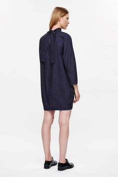 COS image 2 of Dress with back collar tie in Navy