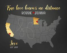 True Love Knows No Distance, Long Distance Relationship MAP, Choose ANY locations - Personalized Anniversary, State to State, Travel | WF554