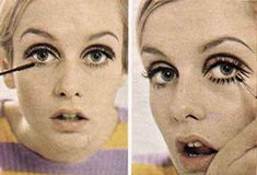 """""""Then I do the Twiggies, the lashes I paint underneath my eyes. I sketch them first lightly with black eyeliner, then I darken them. I usually do between nine and eleven. It varies"""". 1960s Makeup, Twiggy Makeup, Flapper Hair, Pattie Boyd, Mod Girl, Raised Eyebrow, Brown Eyeliner, You Nailed It, Her Hair"""