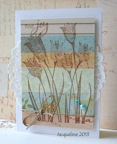 Using up the scraps on the card base and stamping over the top