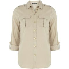 Dorothy Perkins Stone Military Shirt ($29) ❤ liked on Polyvore featuring tops, shirts, blouses, white, military shirts, military style shirts, white shirt, roll sleeve shirt and white tops