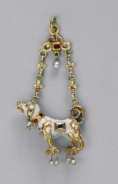 Pendant Shaped as a Dog, Spain, late 16th/early 17th century (with later modifications). Gold, enamels, diamond, rubies, and pearls, 6.7 x 3 cm (2 5/8 x 1 3/16 in.)