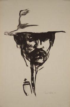 "Emil Nolde (07 August 1867; Nolde, Denmark-13 April 1956; Neukirchen, Germany)- ""Head with Pipe"",self portrait 1907"