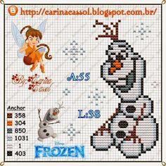 Olaf Frozen cross stitch pattern by Carina Cassol Disney Stitch, Disney Cross Stitch Patterns, Cross Stitch Charts, Frozen Cross Stitch, Frozen Pattern, Disney Olaf, Nemo, Stitch Cartoon, Pixel Pattern