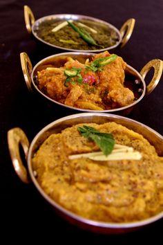 Pakistani cuisine at its best. Spinach masala curry, chicken & ginger curry, Haleem dish - lentils, chicken & lamb. www.spicekitchenonline.co.uk