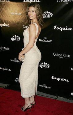 Jessica Biel booty in a curve hugging dress
