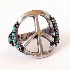 Hippie chic, Wish I could figure out where this Peace Sign Turquoise ring came from! Two of my favorite things!