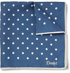 Kingsman - Drake's Polka-Dot Silk-Twill Pocket Square|MR PORTER