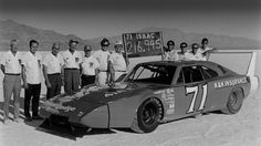 Bobby Isaac and his Daytona Charger at Bonneville Salt Flats. After winning the Nascar championship in 1970 Isaac set 28 land speed records with the car!