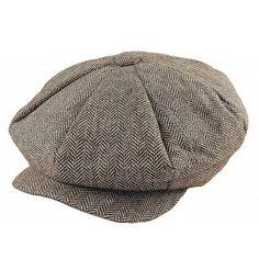 Gubbkeps+/+Flat+cap+-+Jaxon+Herringbone+Big+Apple+Cap+(brun)
