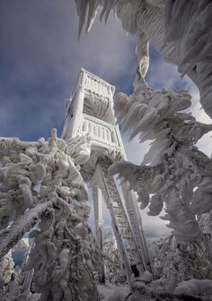 On December 9, 2014, photographer Marko Korosec visited a ski resort at Mount Javornik in Slovenia and discovered a stunning ice-encased wonderland. Korosec found the ice-covered trees and structures at the mountain's summit. According to Korosec, some of the icicles were more than three feet long. Korosec posts his latest photos of storms and other weather phenomena on his Facebook page.
