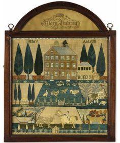 Early 19th century needlework sampler, Mary Antrim