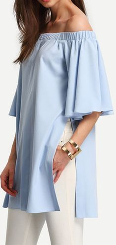 Light Blue Off The Shoulder Split Blouse