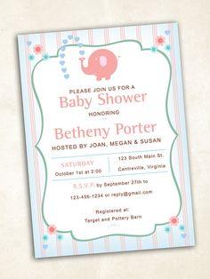 Elephant Baby Shower Invitation  digital file by FrillyJillyDesign
