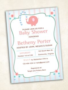 Elephant Baby Shower Invitation  digital file by FrillyJillyDesign