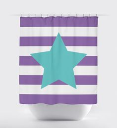 Our custom star shower curtain with rugby stripes is perfect for anyone who wants to shine!  It will love perfect in your bathroom.  You can customize it with the colors of your choice or choose the  amethyst purple and pool colors shown.  This unique, custom shower curtain will make the perfect gift or Christmas present for the special girl or teen in your life.