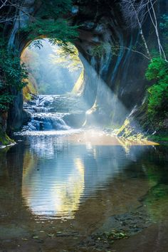 At the waterfall of heart-shaped light. (a place famous for Ghibli-like scenery, Nomizo-no-taki, Chiba). Landscape Photography Tips, Underwater Photography, Portrait Photography, Wedding Photography, Beautiful World, Beautiful Places, Beautiful Pictures, Landscape Pictures, Nature Pictures