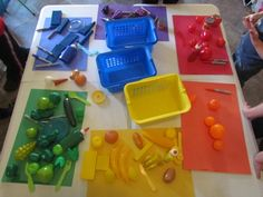 sorting by color - add tongs for picking up the objects to sort and you have a great fine motor activity!