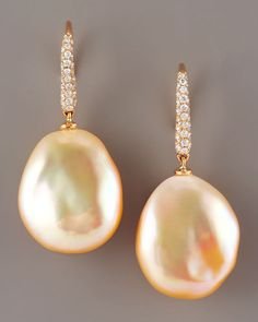ASSAEL  Diamond & Pearl Earrings, Peach