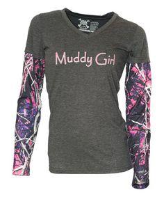 Gray Muddy Girl Layered Tee - Plus Too