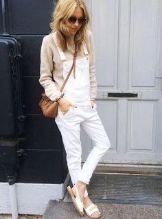 Ce printemps, on pense à glisser un petit pull camel sous nos salopettes blanches en jean (blog Look de Pernille)