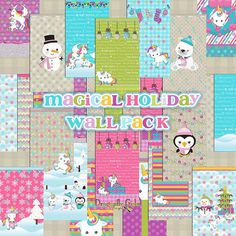 Magical Holiday Wall Pack for Mobile Devices, Instant Download, December Iphone, Android,