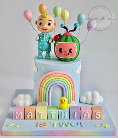 2nd Birthday Party For Boys, Baby Boy 1st Birthday Party, Baby Birthday Cakes, Birthday Ideas, Sponge Bob Cupcakes, Melon Cake, Themed Cakes, Birthday Party Decorations, First Birthdays