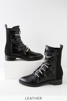 e66671ae57db Gaven Black Leather Belted Mid-Calf Boots