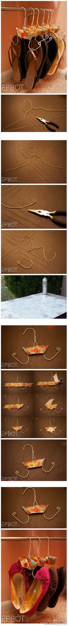 Turn a wire hanger to a shoe hanger. Very cool. - Click image to find more DIY & Crafts Pinterest pins