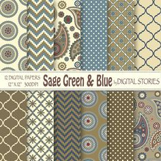 Paisley Digital Paper SAGE GREEN BLUE  Paisley by DigitalStories, €2.60