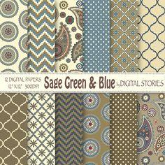 "Paisley Digital Paper: ""SAGE GREEN BLUE""  Paisley Retro scrapbook digital paper for invites, cards, backgrounds"
