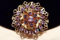 CORO Vintage 1960 Designer Purple Rhinestone Glass Flower Gold Plate Brooch Pin #Coro #Vintage