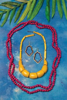 rich noonday colors.  I think I like the shape & richer color on the earrings. Mustard necklace is cute too. I like the shade of the bead necklace as well, although I have  harder time styling bead necklaces and making them my own.