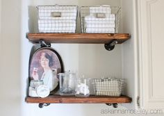 diy industrial shelves tutorial, bathroom ideas, how to, repurposing upcycling, shelving ideas, woodworking projects