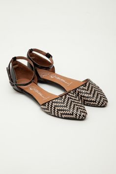 Jeffrey Campbell - Black/Nude Woven Lovin Ankle Strap Flats