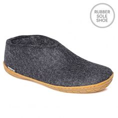 "Glerups Felt Rubber Sole Shoe - Charcoal  Nanny Glerup describes her Danish slippers as ""beautiful, natural and warm"". We would also add that they are practical, beautifully made and long lasting.  The rubber soled Glerups shoe is a non-slip slipper that is as supple as calf skin but ideal if you want to nip outside. The shoe has a back that hugs the heal, ideal when going up and down the stairs as the slipper stays firmly on the foot.   They are by far the most stylish and understated house…"