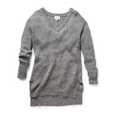 #seedheritage V-Neck High Low Sweater in mid grey marle available via seedheritage.com.
