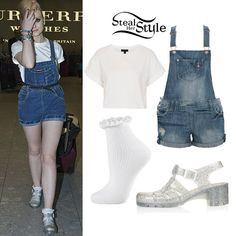 Perrie Edwards: White Tee, Denim Dungaree Shorts | Steal Her Style