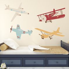 Airplane Wall Decal: Plane Wall Decal - Airplane Vinyl Wall Decor - Old School Aeroplane Decal - Kids Wall Decals - Nursery Wall Decals. Our Airplane Wall Decal is perfect for your baby's nursery or kids playroom! Rocky Mountain Decals are created from a unique material that looks like paint on your walls, yet can be removed easily without damage or mess. To apply simply peel and stick! They are child-friendly and eco-friendly. Bonus: FREE decal applicator tool with your purchase! Size…