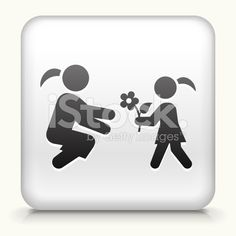 Square Button with Girl Giving Flowers royalty-free stock vector art