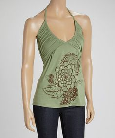 Another great find on #zulily! Green Floral Rhinestone Halter Top by Yak n Yeti #zulilyfinds