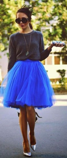 Outfit with incredibly beautiful blue tulle skirt