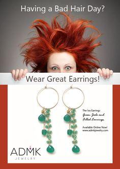 Bad Hair Day, Jade Green, Earrings, Jewelry, Ear Rings, Stud Earrings, Jewlery, Jewerly, Ear Piercings