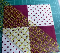 Disappearing 4 patch - with a twist Cut diagonally Quilting Tutorials, Quilting Projects, Quilting Designs, Quilting Tips, Quilt Block Patterns, Pattern Blocks, Quilt Blocks, Disappearing Four Patch, Nine Patch Quilt