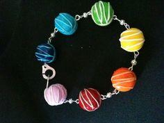 bracelet macarons rainbow
