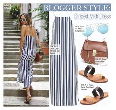 """""""Blogger Style-Aimee Song in Striped Midi Dress"""" by kusja ❤ liked on Polyvore"""
