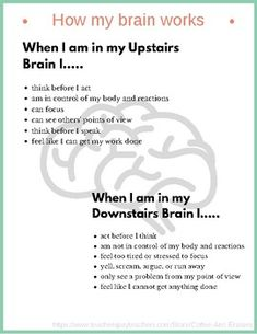 This PDF contains a mini-poster and student cards to explain the Upstairs and Downstairs Brain. Both versions contain an explanation from the students' point of view. The student version has two cards per page, as well as blank spaces to fill in with calm Trauma Therapy, Therapy Tools, Speech Therapy, Psychology Quotes, School Psychology, Forensic Psychology, Color Psychology, Counseling Activities, School Counseling